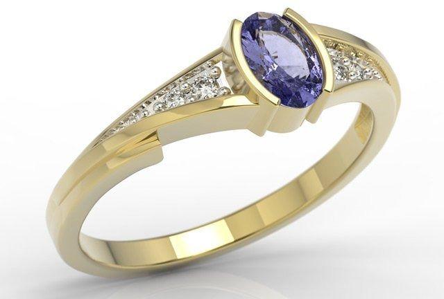 Pierścionek zaręczynowy z żółtego złota z tanzanitem i diamentami jp-2705z-r