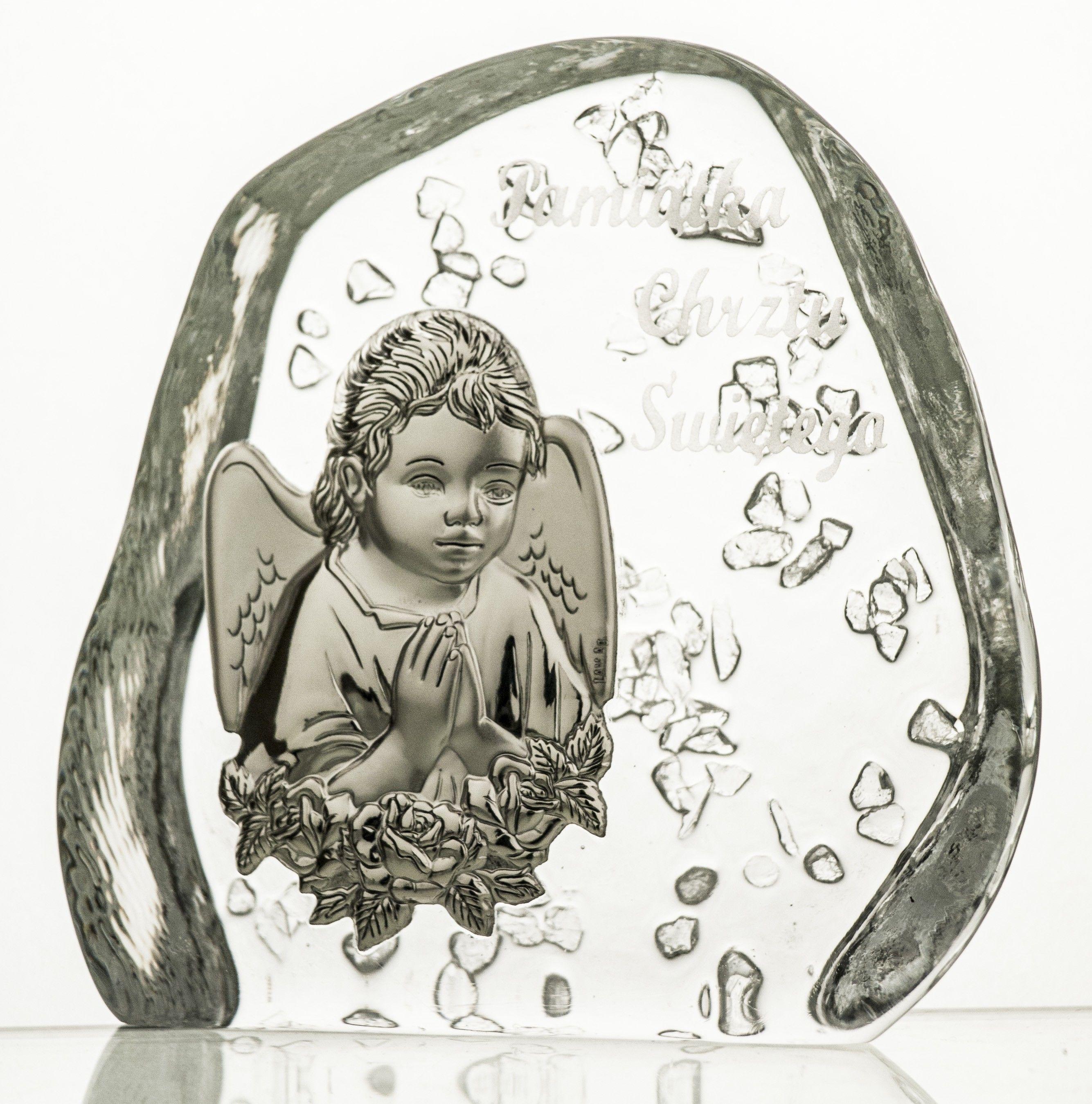 Skałka przycisk z Aniołkiem na Chrzest kryształ 3620