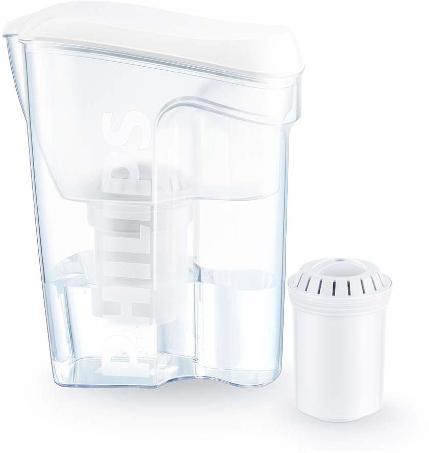 Philips Aqua Solutions karafka z filtrem wody na kamień, ołowiu, chloru, pestycydów, mikroplastiku, filtr wody z węglem aktywnym, mikrofiltracja, AWP2918