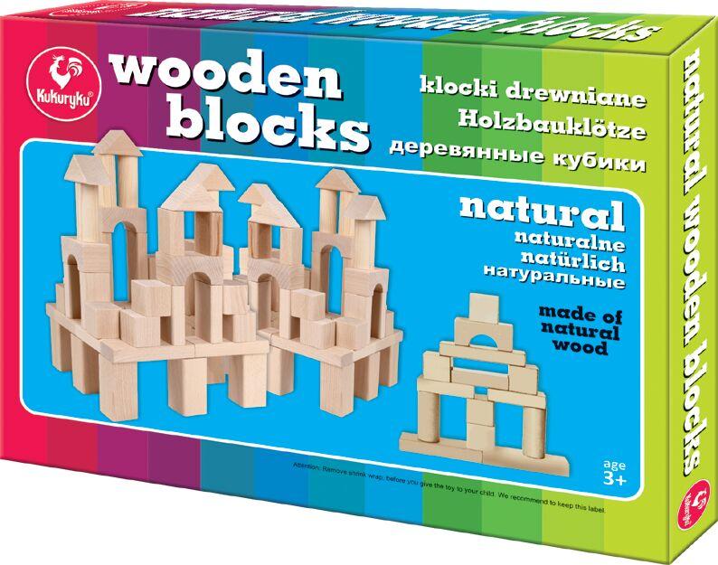 Kukuryku Klocki drewniane naturalne