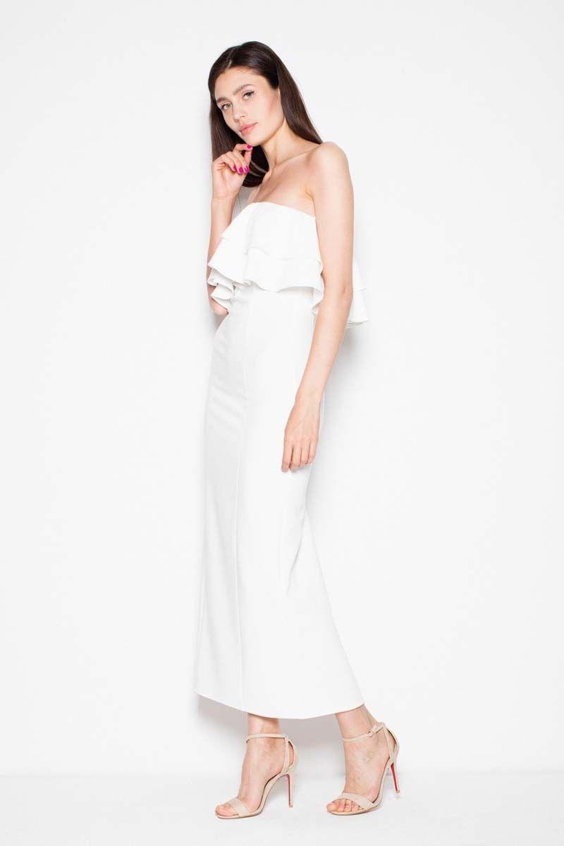 Ecru sukienka długa elegancka z falbankami