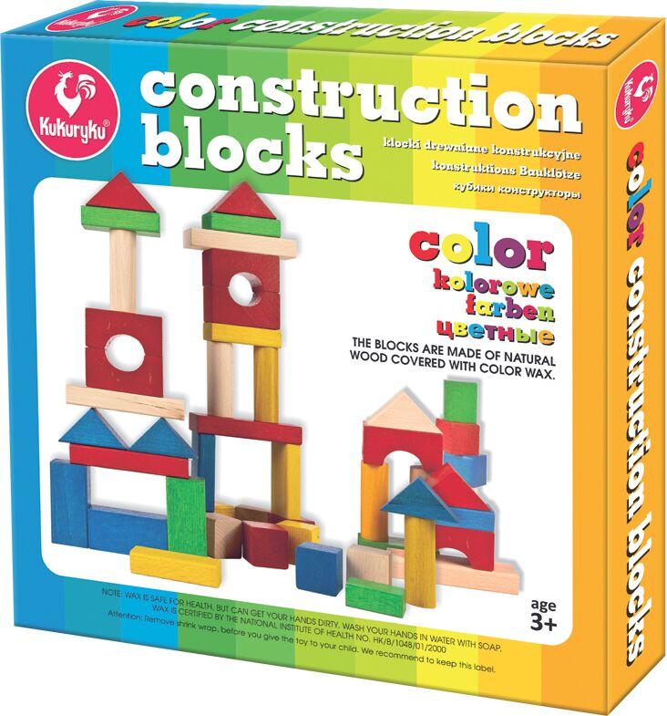 Kukuryku Klocki drewniane konstrukcyjne kolorowe