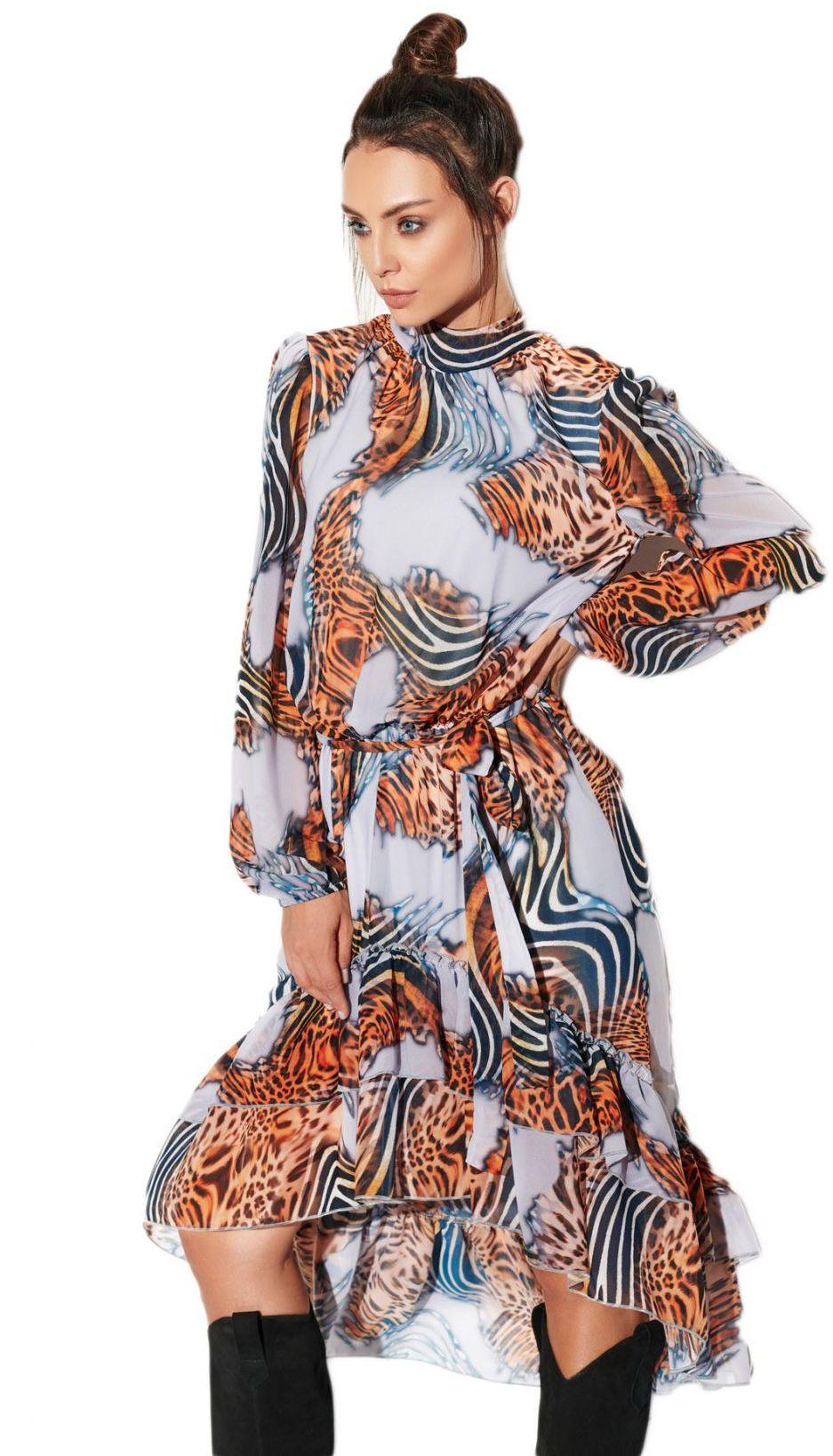 Sukienka z krótszym przodem LG504 druk 3