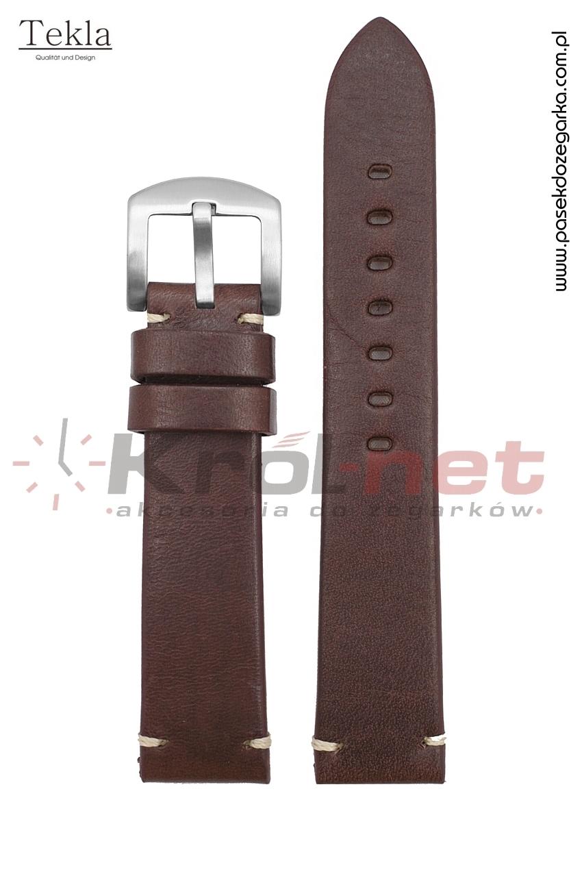 Pasek TK121CBR/B/24 - ciemny brąz, gładki z jasną nicią