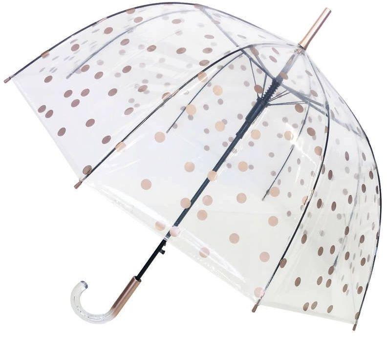 Smati - długi parasol - złote grochy - przeźroczysty