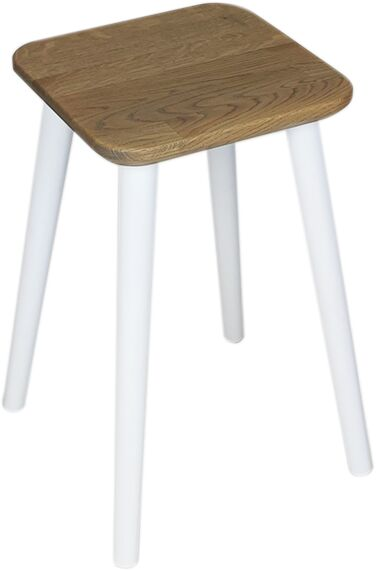 Taboret kwadratowy z litego dębu Ash Grey, Wykończenie nogi - Biały, Wysokość - 540, Wymiar siedziska - 300x300