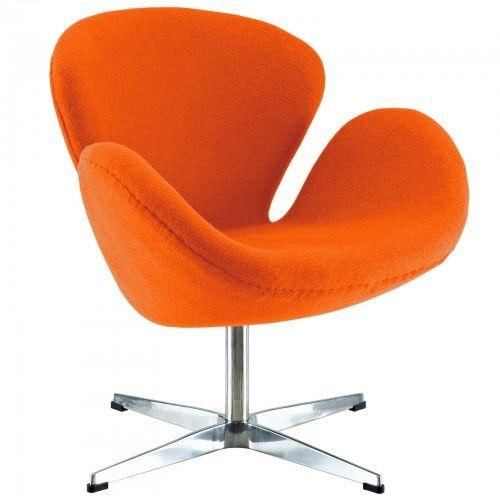Pomarańczowy Fotel Wełna Naturalna Inspirowany Projektem Swan Chair