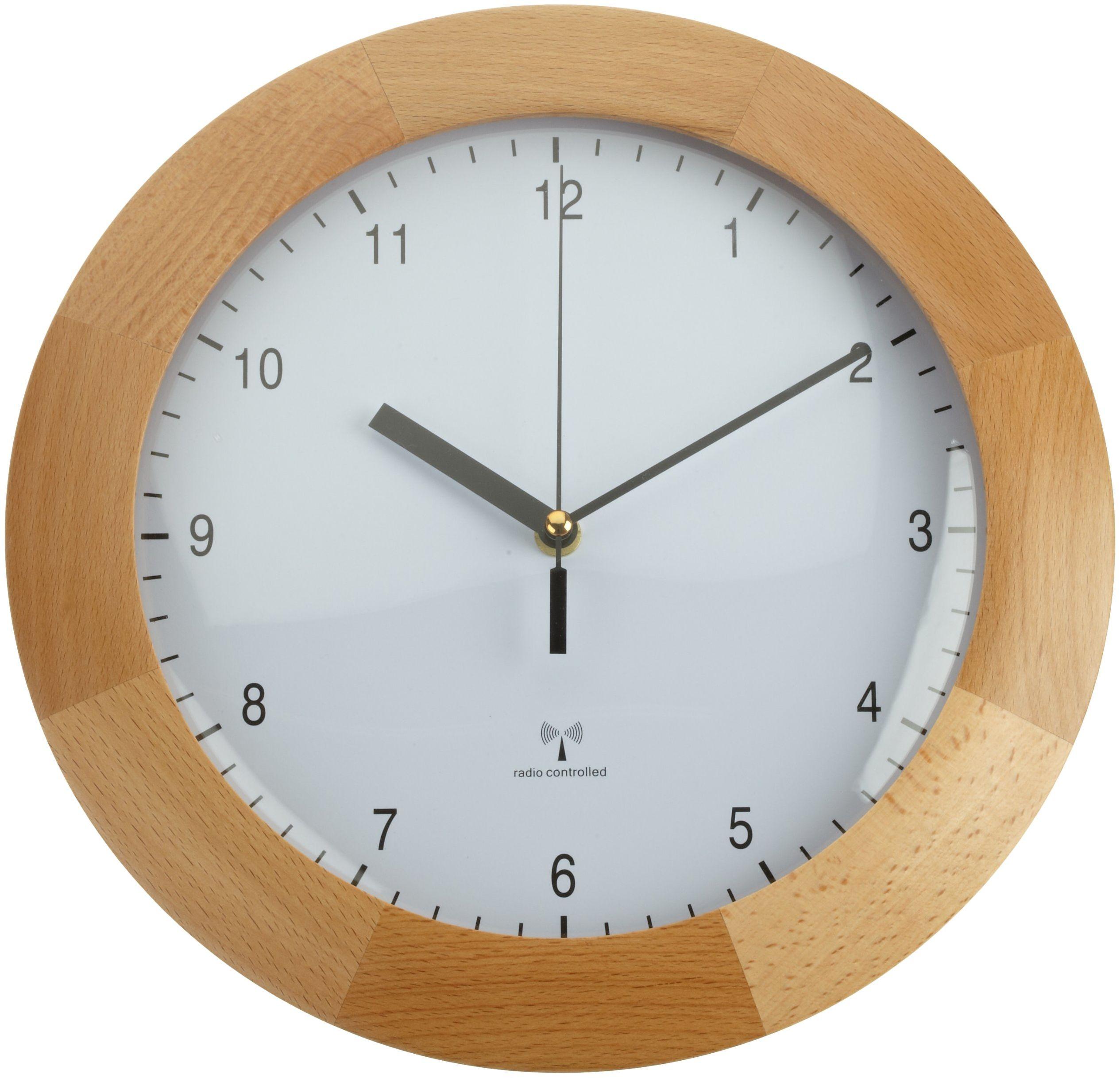 TFA Dostmann Radiowy zegar ścienny, designerski zegar ścienny, z drewna, z buku, do zawieszenia, średnica 31 cm, brązowy, 98.1065
