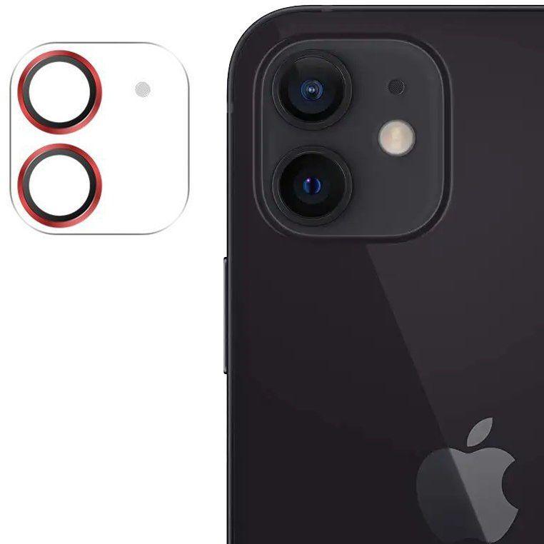 Joyroom Shining Series szkło hartowane na cały aparat obiektyw kamerę do iPhone 12 mini czerwony (JR-PF686)