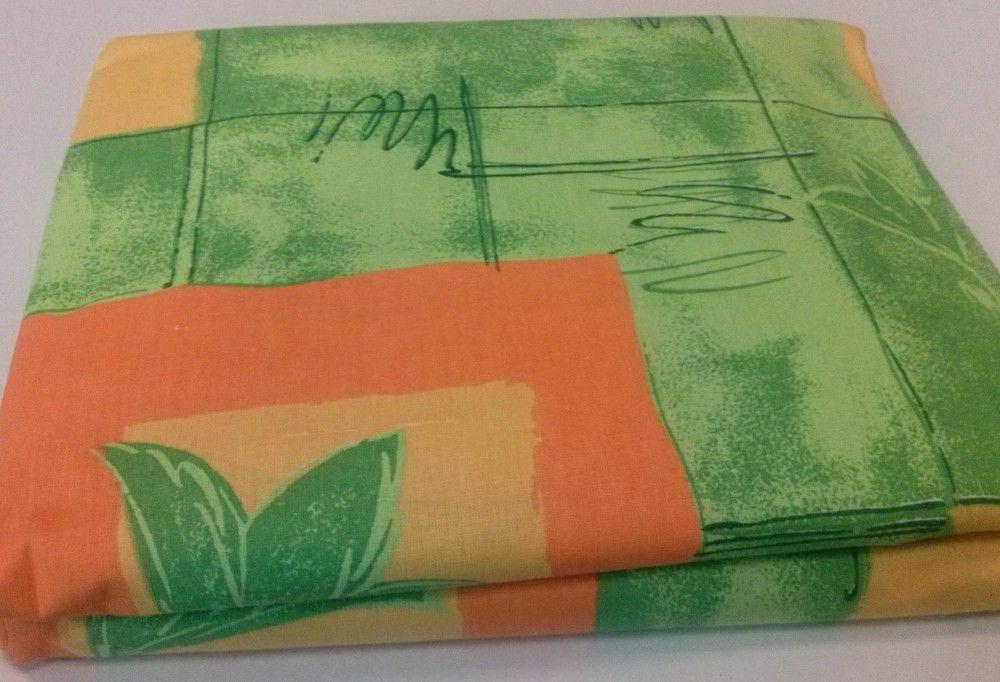 Pościel bawełniana 180x200 zielony kwiat pomarańczowy żółty kwadrat zielone tło