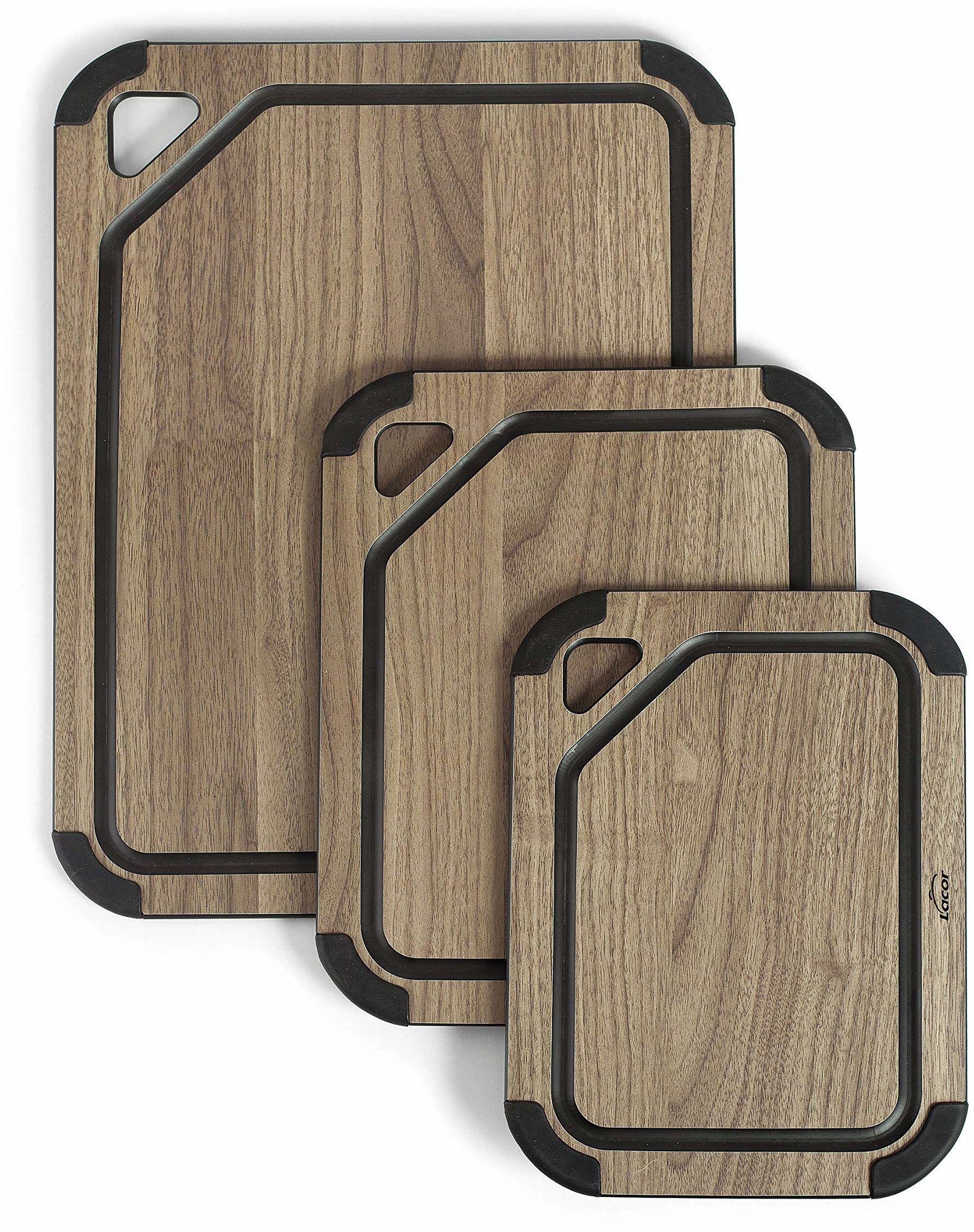 Lacor deska do krojenia, włókna drzewnego + silikon, orzech włoski, duża