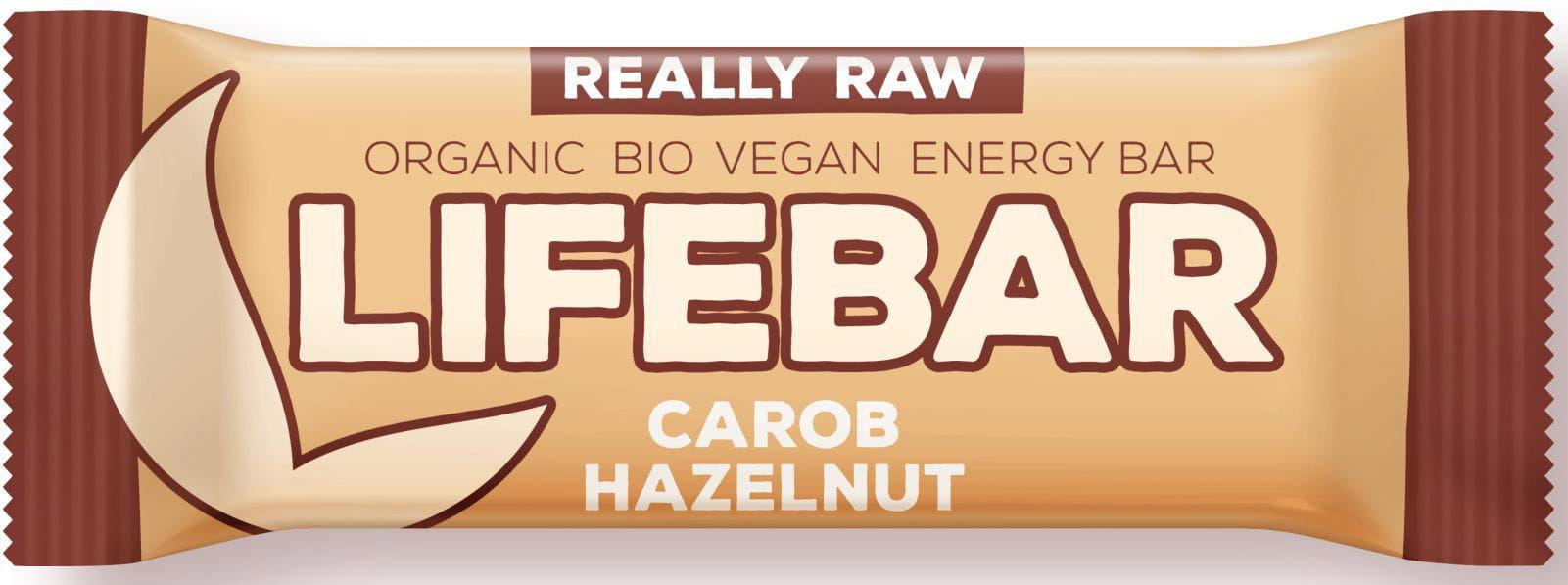 Baton z karobem i orzechami raw bezglutenowy bio 47 g - lifefood