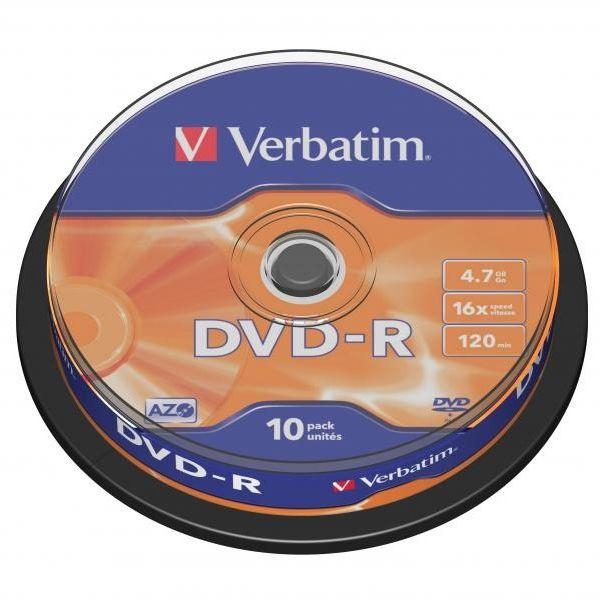 Płyty VERBATIM DVD-R 16x - 10-pack (43523)