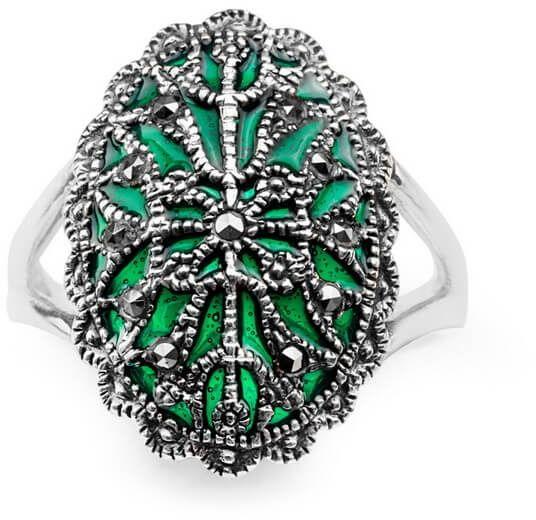 Staviori pierścionek. markazyty. emalia zielona. srebro 0,925. szerokość 20 mm.
