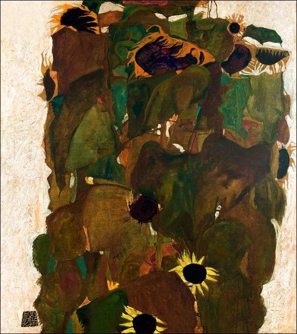 Słoneczniki, egon schiele - plakat wymiar do wyboru: 60x80 cm