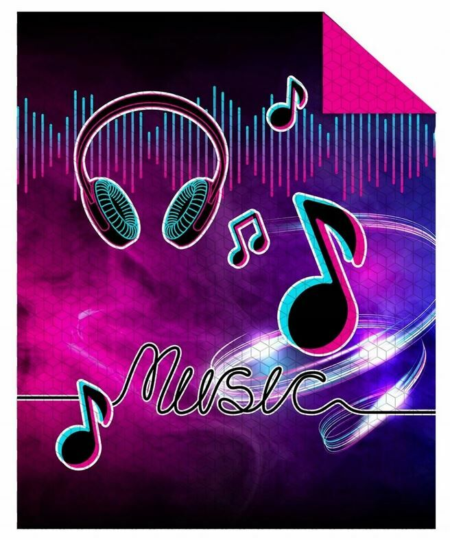 Narzuta młodzieżowa Holland 170x210 K 26 Music słuchawki nutki fioletowa czarna dwustronna 1842 dekoracyjna na łóżko pikowana
