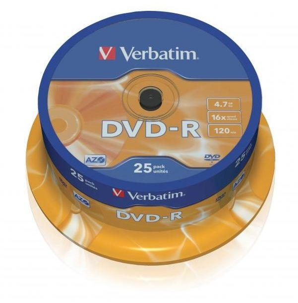 Płyty VERBATIM DVD-R 16x - 25-pack (43522)