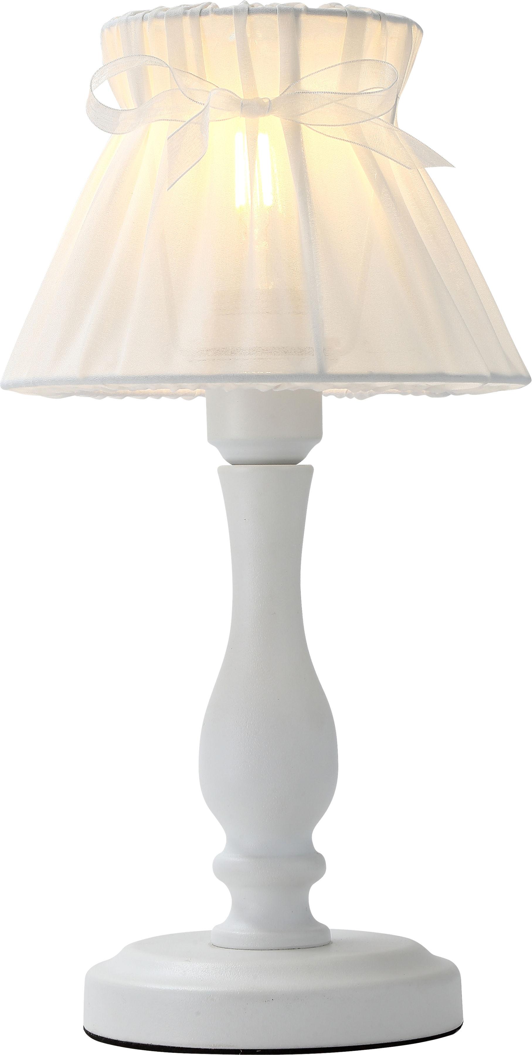Candellux ZEFIR 41-73815 lampa stołowa abażur z organzy biały 1X40W E27 20 cm