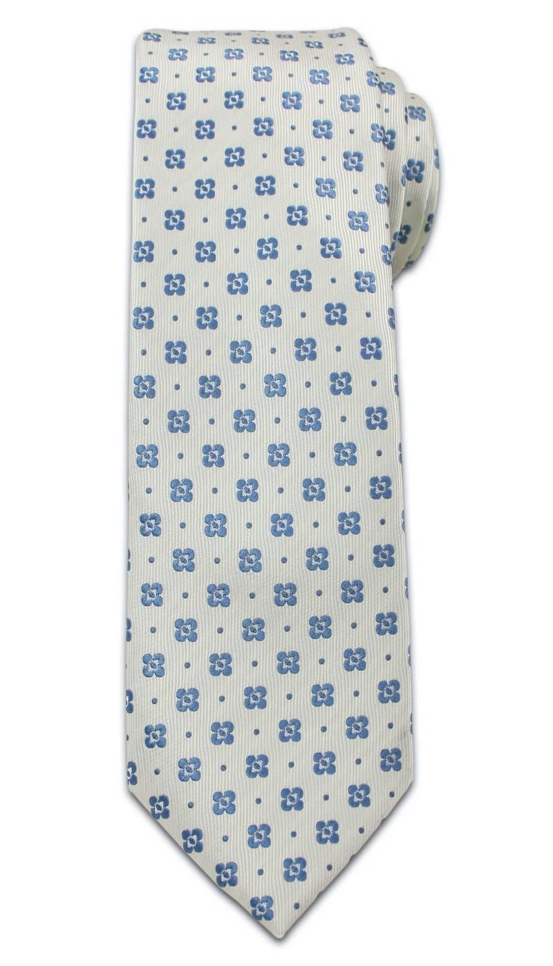 Stylowy Krawat Męski - Motyw Florystyczny, Kwiaty - Chattier, Biało-Niebieski KRCH0966
