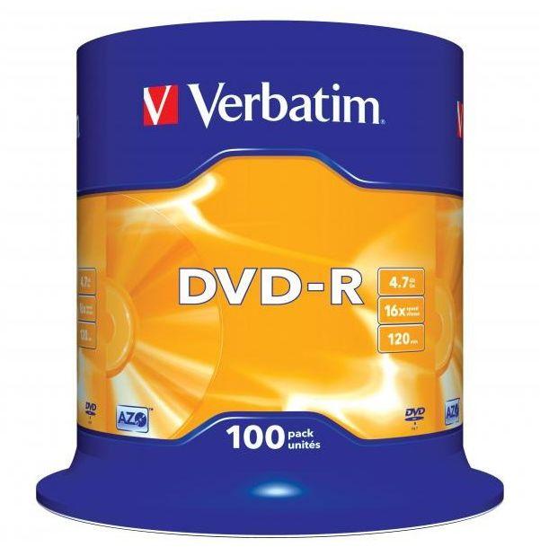Płyty VERBATIM DVD-R 16x - 100-pack (43549)