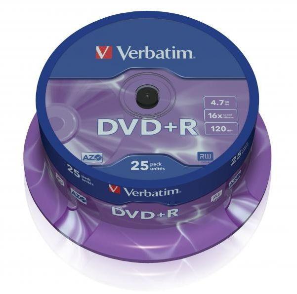 Płyty VERBATIM DVD+R 16x - 25-pack (43500)