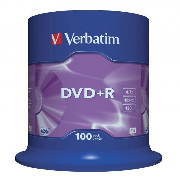 Płyty VERBATIM DVD+R 16x - 100-pack (43551)