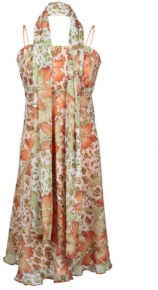 Sukienka FSU117 POMARAŃCZOWY ZIELONY