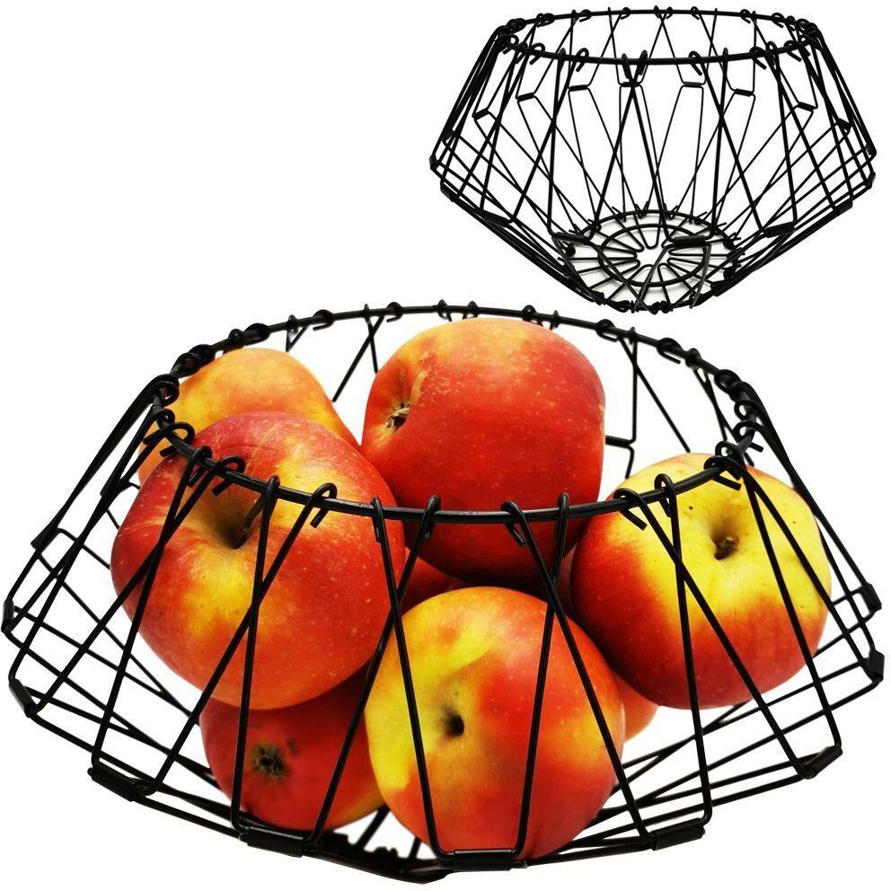 Koszyk SKŁADANY na owoce warzywa CZARNY metalowy kosz patera miska