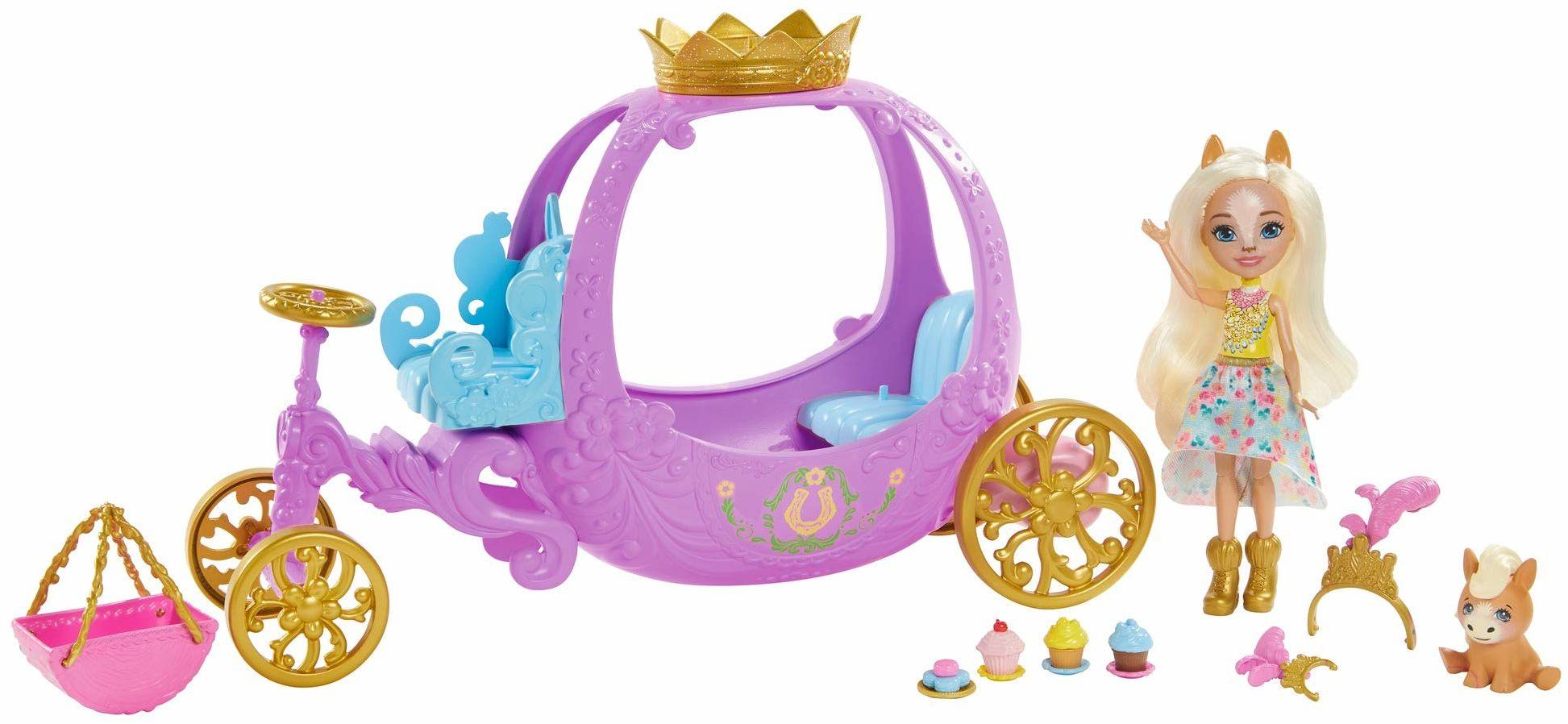 Enchantimals GYJ16  zestaw do zabawy, zjeżdżalnia dla księżniczek (20,5 cm), z kolekcji Royals z lalką Peola Pony i figurką zwierząt, 7 akcesoriów, wspaniały prezent dla dzieci w wieku od 3 do 8 lat