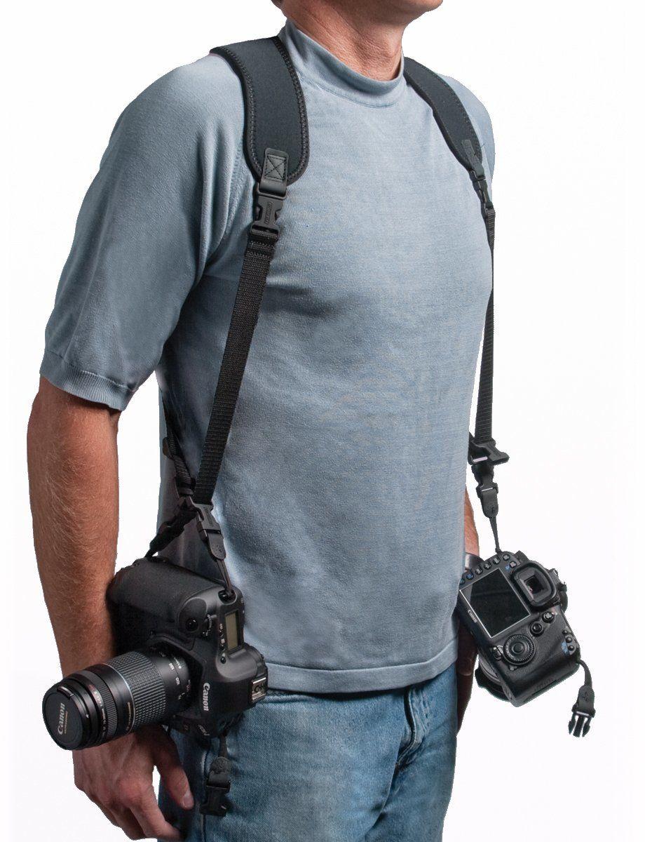 OP/TECH szelki neoprenowe z podwójnym zawieszeniem do noszenia 2 aparaty w stylu podłużnym - czarne