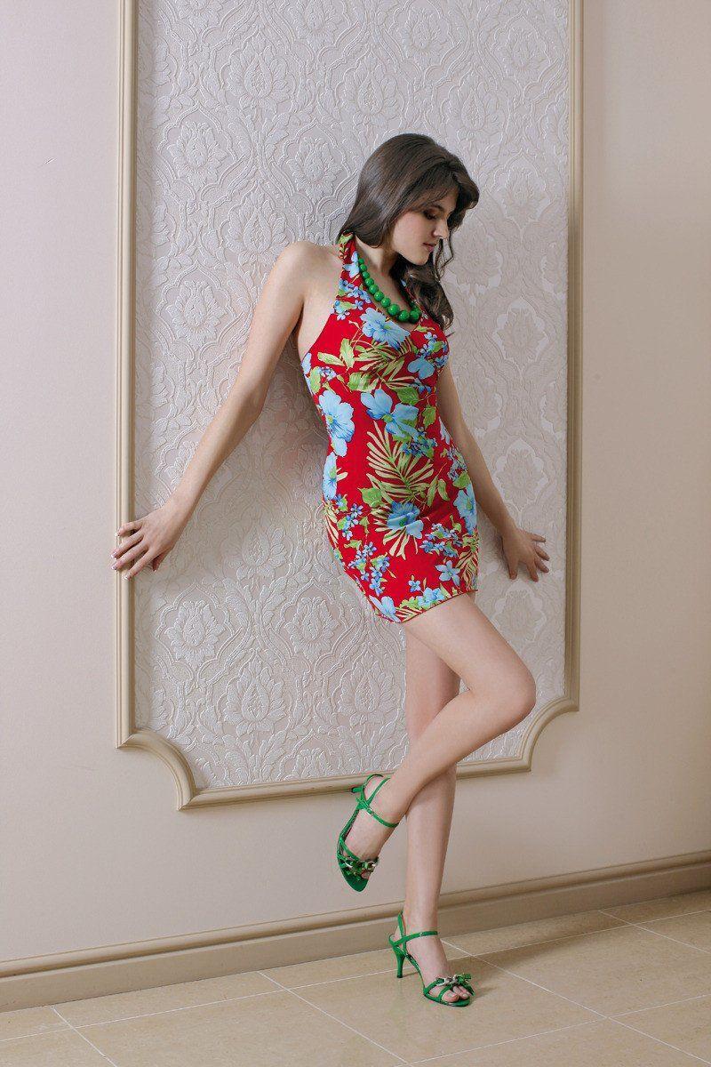 Sukienka FSU078 CZERWONY ZIELONY
