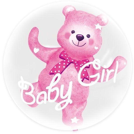 Balon z misiem Baby Girl różowy 460234