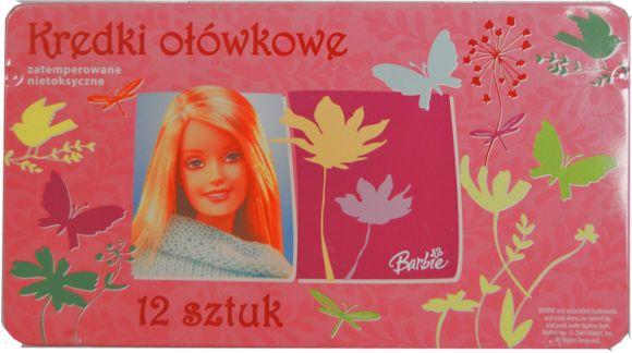 Kredki ołówkowe 12 kolorów matalowe pudełko Barbie Top2000 67839