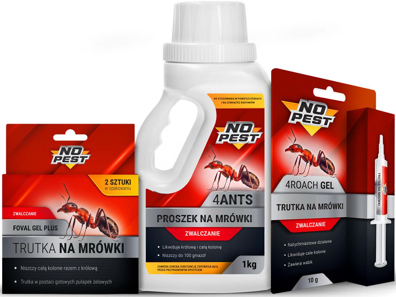 Środki na mrówki NO PEST. Proszek, trutka, pułapka na mrówki w domu, ogrodzie.