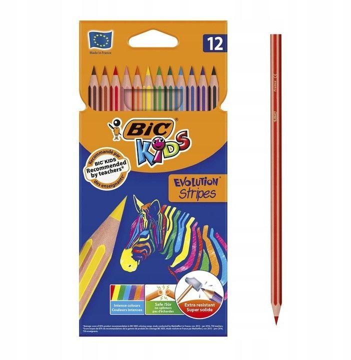 Kredki ołówkowe Bic Evolution Stripes 12k 99102