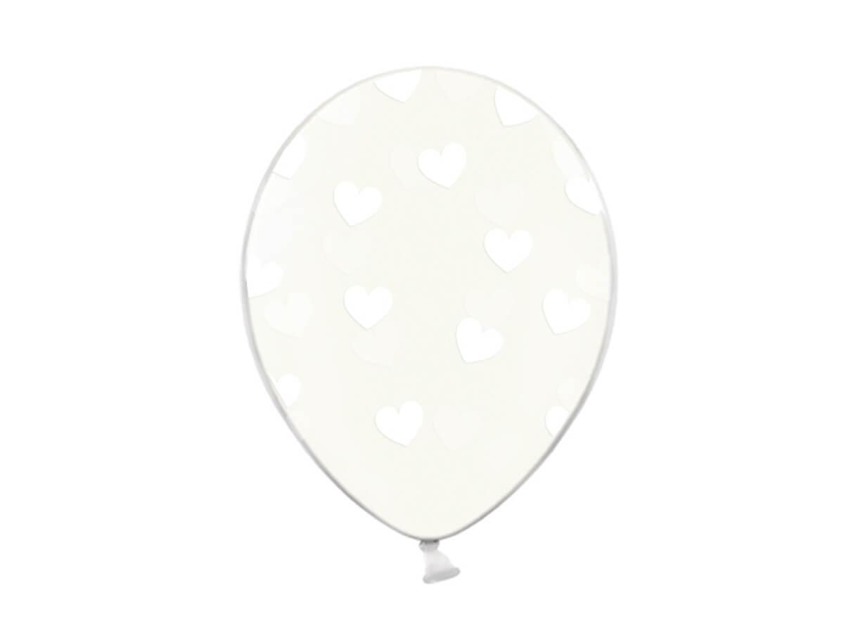 Balony przeźroczyste Serduszka białe - 30 cm - 6 szt.
