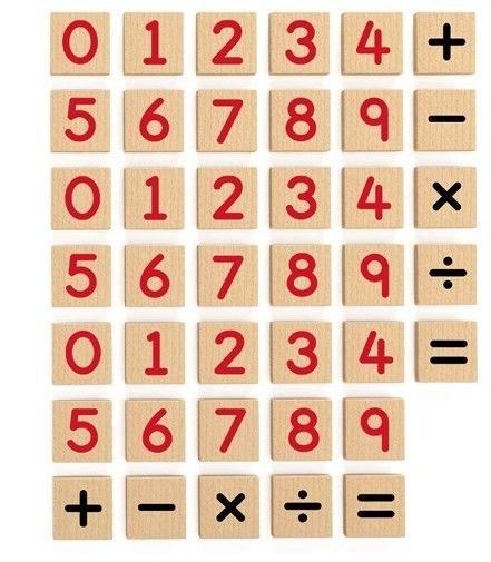 Zestaw Drewnianych Magnetycznych Cyferek i Znaków 40 elementów VIGA