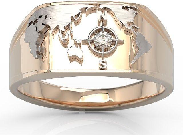 Sygnet morski z różowego i białego złota z brylantem sj-1406pb