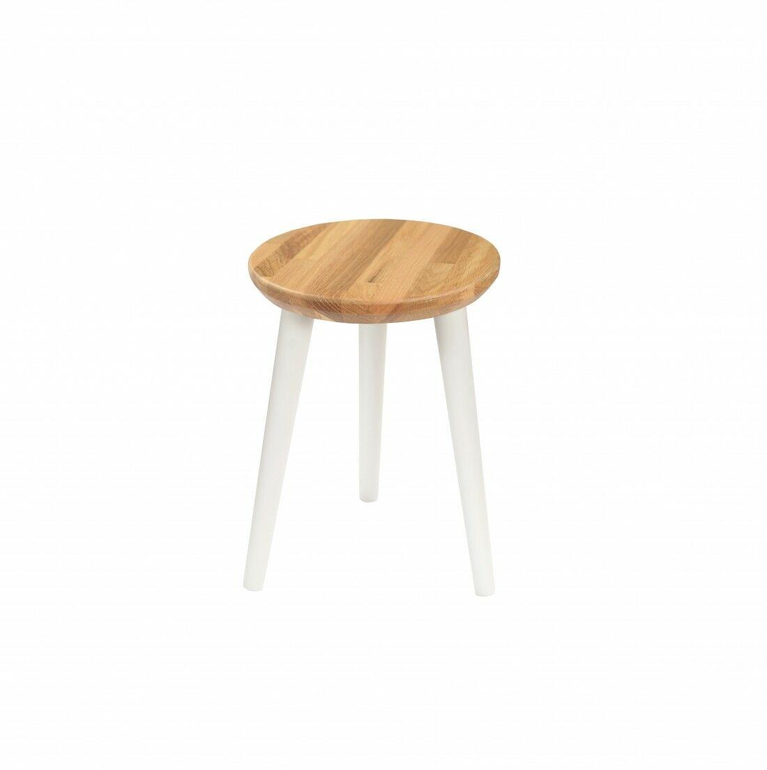 Taboret lub hocker okrągły z litego dębu Modern Oak, Wykończenie nogi - Biały, Wysokość - 410, Wymiar siedziska (Średnica) - 300