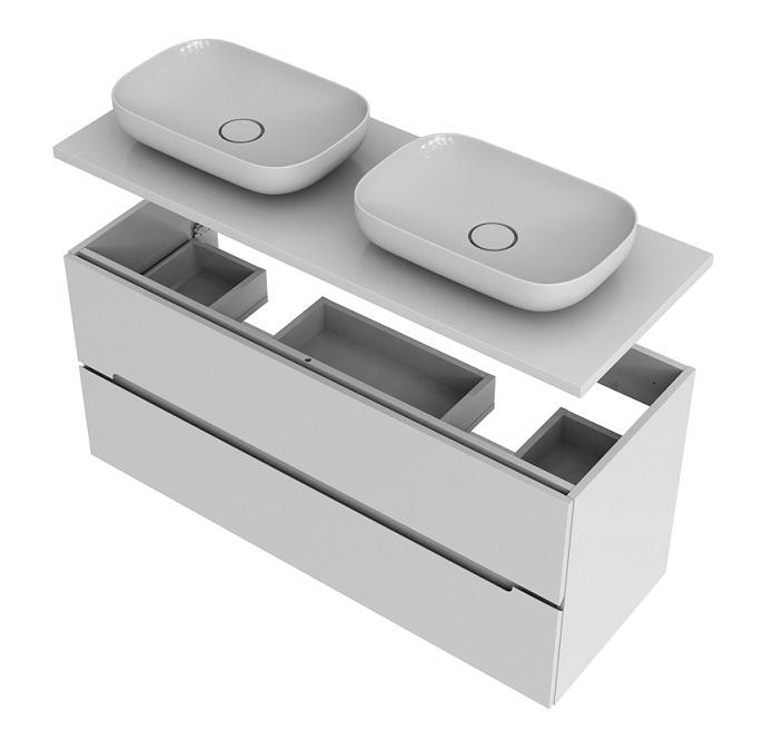 Oristo Silver szafka podwójna z blatem 120x55x44cm biały połysk OR33-SD2S-120-1-D/OR33-B-120-1