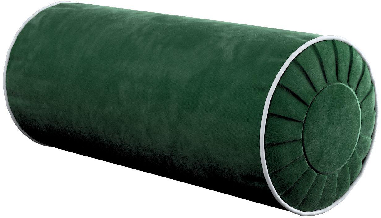 Poduszka wałek z zakładkami z lamówką, butelkowa zieleń, Ø20  50 cm, Velvet