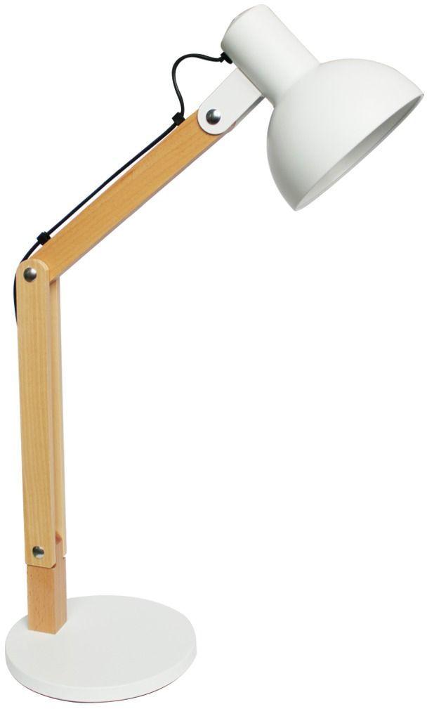Lampa biurkowa H1746 E27 Zuma Line nowoczesna biała drewno regulowana