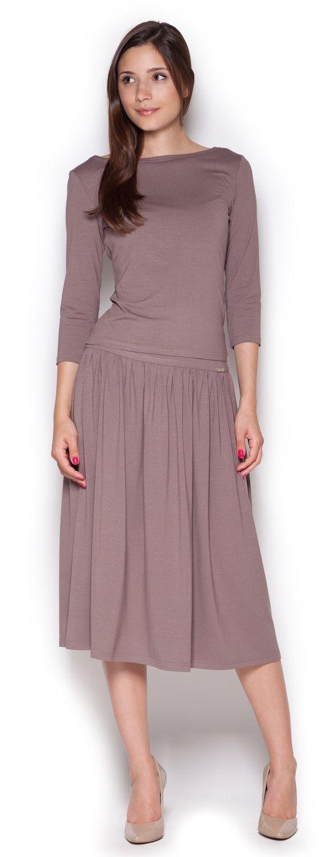 Brązowy Dzianinowy Komplet Bluzka + Midi Spódnica