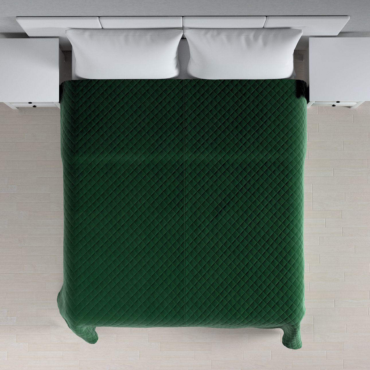 Narzuta pikowana w romby, butelkowa zieleń, szer.210  dł.170 cm, Velvet