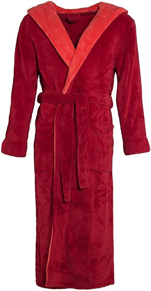 CelinaTex Texas szlafrok kąpielowy kaptur XL bordowy czerwony mikrofibra damski męski szlafrok poranny Coral Fleece płaszcz