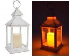 LAMPION Z ŚWIECĄ LED, Latarnia, ŚWIECZNIK, Znicz BIAŁY wys 23 cm