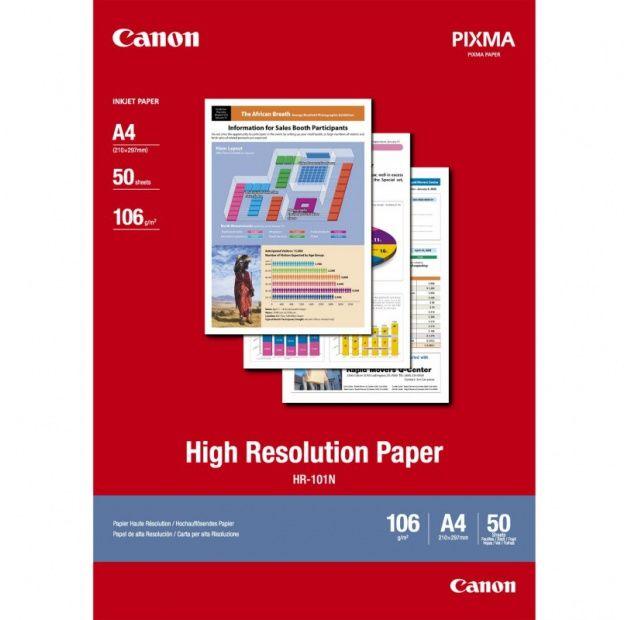 Papier CANON HR101 - powlekany, o wysokiej rozdzielczosci, A4 / 50 arkuszy (1033A002)