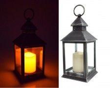LAMPION Z ŚWIECĄ LED, Latarnia, ŚWIECZNIK, Znicz CZARNY wys 23 cm
