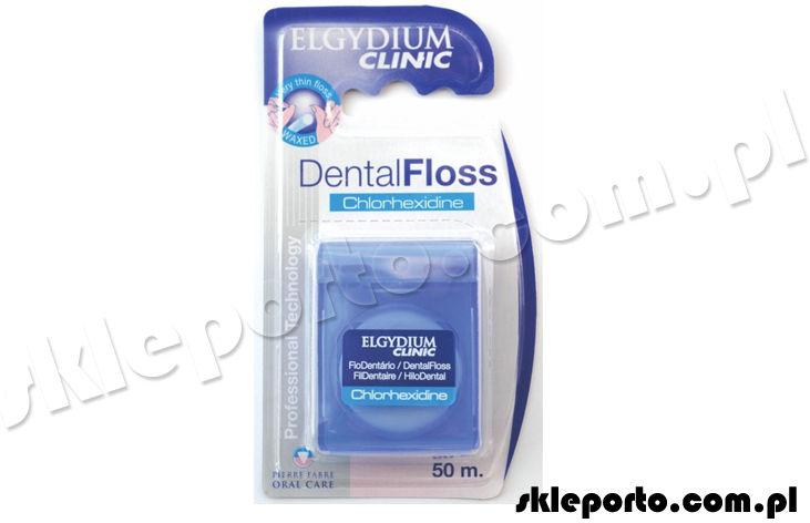 Elgydium nić dentystyczna + chlorheksydyna Clinic DentalFloss - 50 m Nitka z chlorhexidine