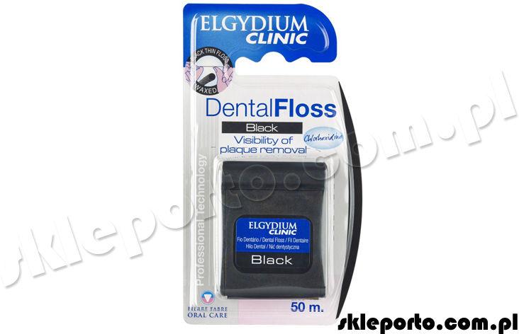 Elgydium Clinic DentalFloss Black - 50 m nić dentystyczna + chlorheksydyna Czarna nitka z chlorhexidine